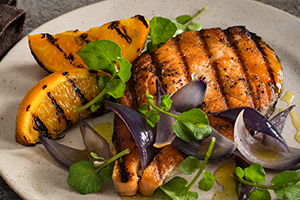 Grilled Salmon with Red Onions