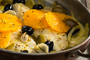 Roasted Sea Bass with Fennel, Oranges, and Olives