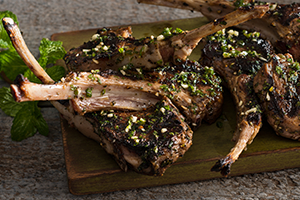 Marinated Lamb Chops with Fresh Mint Sauce