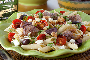 Penne Pasta with Lamb and Feta Cheese