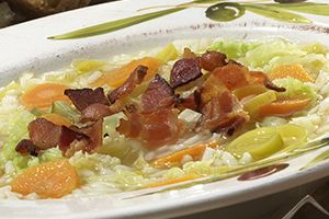Cabbage and Rice Soup with Bacon