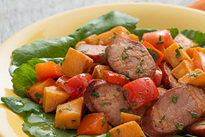 Warm Sweet Potato and Chorizo Salad