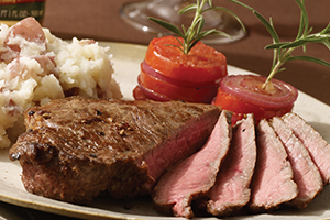 Strip Steaks with Tomato Towers