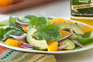 Spinach, Orange, Avocado, and Red Onion Salad