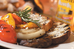 Grilled Portobello Mushrooms and Onions with Parmesan Crostini