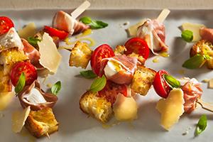 Mozzarella Prosciutto, and Tomato Skewers