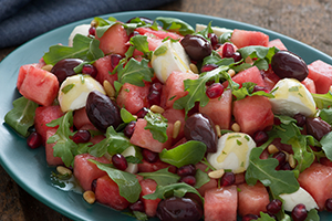 Watermelon and Bocconcini Salad with Mint Dressing