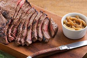 Sirloin Steak with Onion-Mustard Sauce