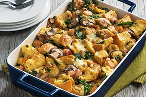 Kale, Pancetta and Mushroom Strata