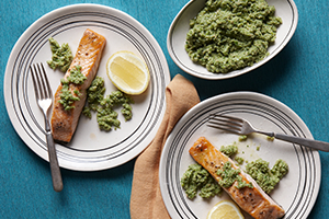 Salmon with Green Olive Pesto