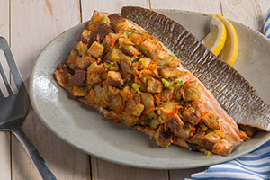 Baked Trout Fillets with Bread Stuffing