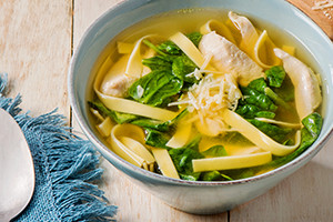 Chicken Noodle Soup with Spinach and Basil