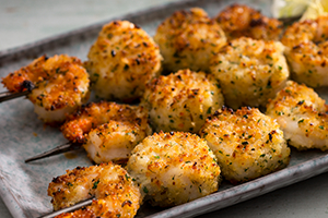 Fennel-Crusted Seafood on Skewers