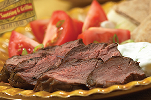 Barbecued Leg of Lamb with Cucumber Yogurt Dip