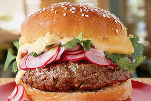 Asian Beef Burgers with Sriracha Mayo and Radishes
