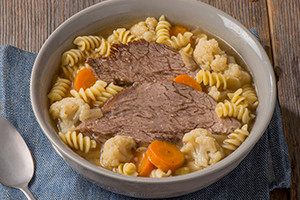 Beef and Cauliflower Soup with Pasta