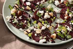 Beet Carpaccio Salad with Toasted Hazelnuts