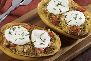 Chicken Caprese Stuffed Spaghetti Squash
