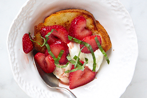 Balsamic-Macerated Strawberries with Basil