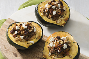 Goat Cheese and Balsamic Stuffed Acorn Squash