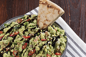 Guacamole with Chili Balsamic Glaze