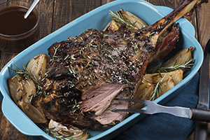 Rosemary and Raspberry Balsamic Roasted Leg of Lamb