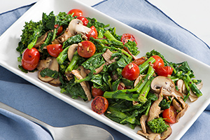Broccoli Rabe with Roasted Tomatoes and Mixed Mushrooms