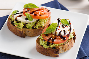Caprese Avocado Toast with Balsamic Glaze