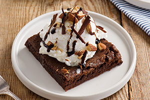 Chili Balsamic Brownie Sundae with Roasted Almonds