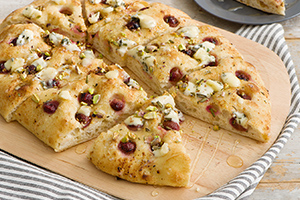 Grape and Gorgonzola Focaccia with Pistachios