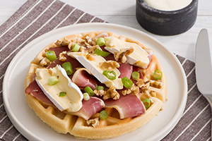 Ham and Brie Waffles with Dijon Cream
