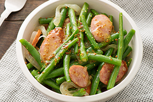 Mustard Green Beans with Andouille Sausage and Vidalia Onion