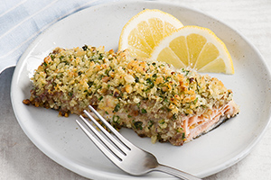 Pesto and Walnut-Crusted Salmon Fillets