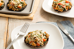 Portobello Mushrooms Stuffed with Sausage and Swiss Chard
